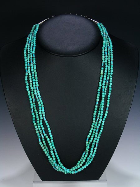 Native American Indian Jewelry 4 Strand Turquoise Beaded Necklace