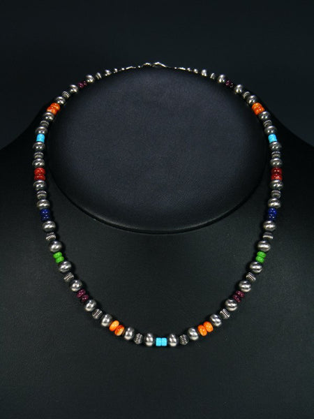 Navajo Spiny Oyster and Turquoise Sterling Silver Bead Choker Necklace