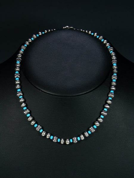 Navajo Sleeping Beauty Turquoise Sterling Silver Bead Choker Necklace