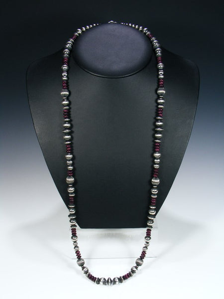 Native American Sterling Silver Spiny Oyster Extra Long Bead Necklace