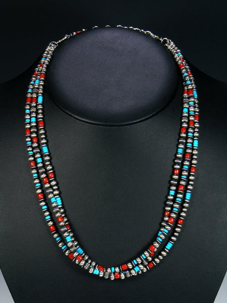Native American Sterling Silver Turquoise and Coral Bead Necklace