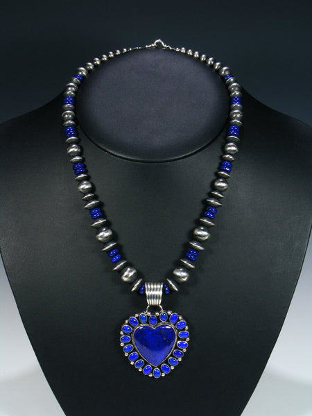 Native American Natural Deep Blue Lapis Heart Necklace