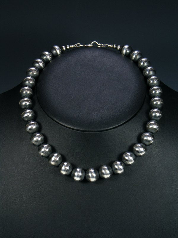 Native American Large Silver Bead Necklace Choker