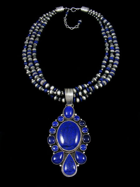 Native American Natural Deep Blue Lapis Necklace Set