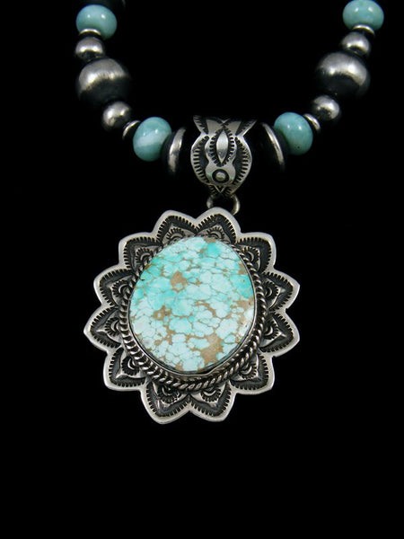 Native American #8 Turquoise Pendant With Bead Necklace