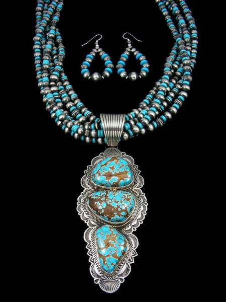 Native American Dragonfly Turquoise Beaded Necklace Set