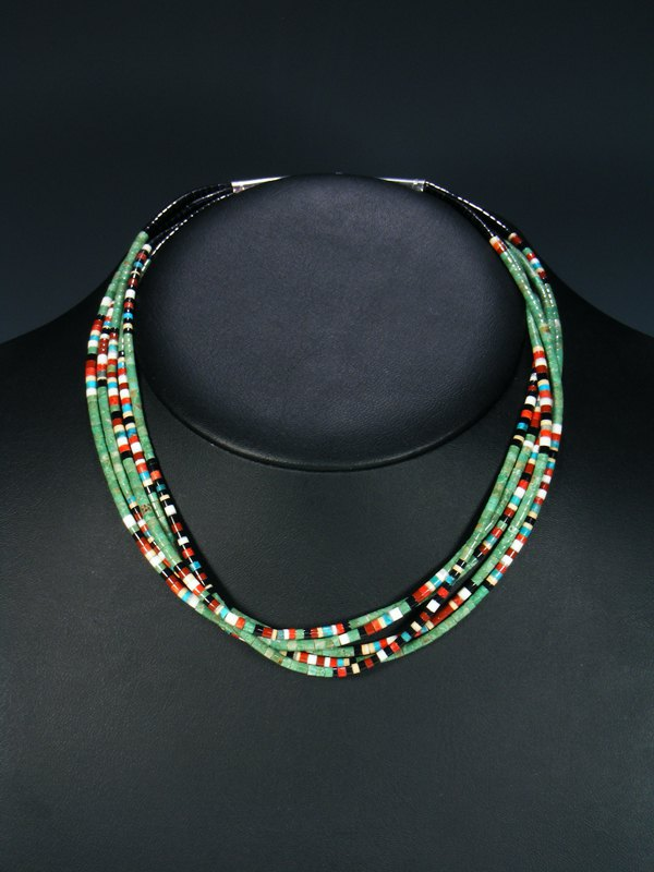 Native American Indian Bead Santo Domingo Turquoise 5 Strand Necklace