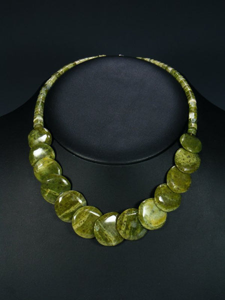 Native American Serpentine Disc Necklace