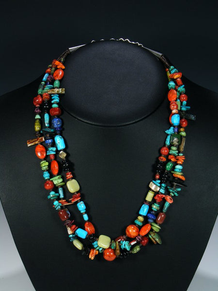 Native American Triple Strand Turquoise and Apple Coral Necklace