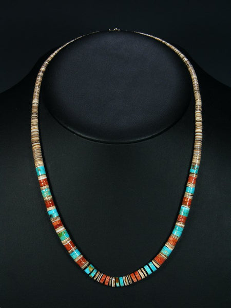 Native American Shell and Turquoise Heishi Necklace