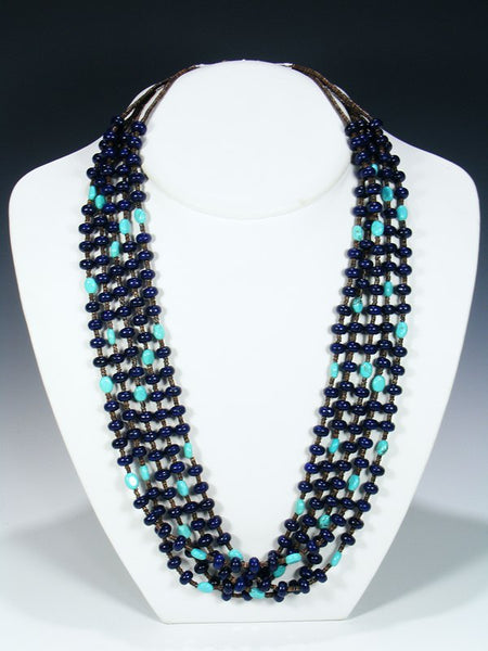 Native American Lapis Heishi and Turquoise 5 Strand Necklace