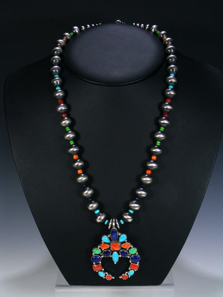 Native American Indian Sterling Silver Turquoise and Coral Naja Bead Necklace Set