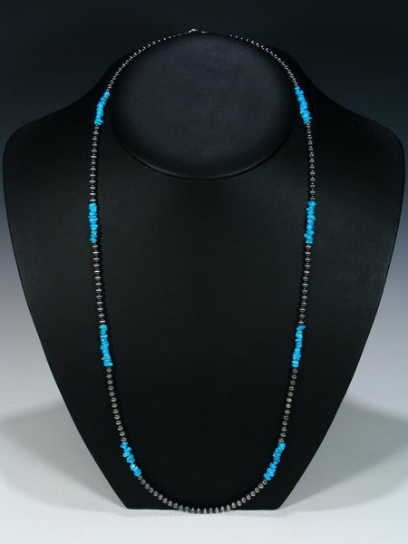 Long Native American Turquoise and Silver Bead Necklace