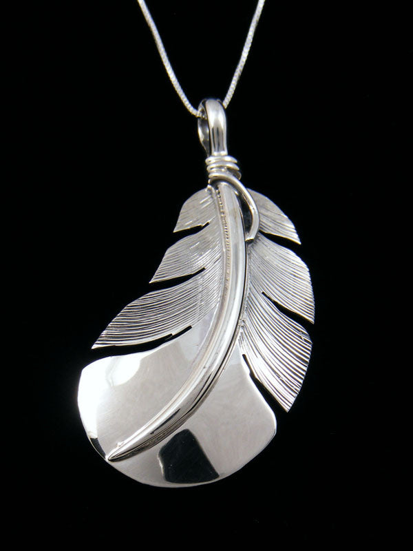 Native American Sterling Silver Feather Pendant by Lena Platero - PuebloDirect.com