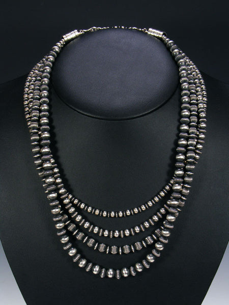 Native American Multi Strand Sterling Silver Necklace by Geneva Apachito - PuebloDirect.com - 1