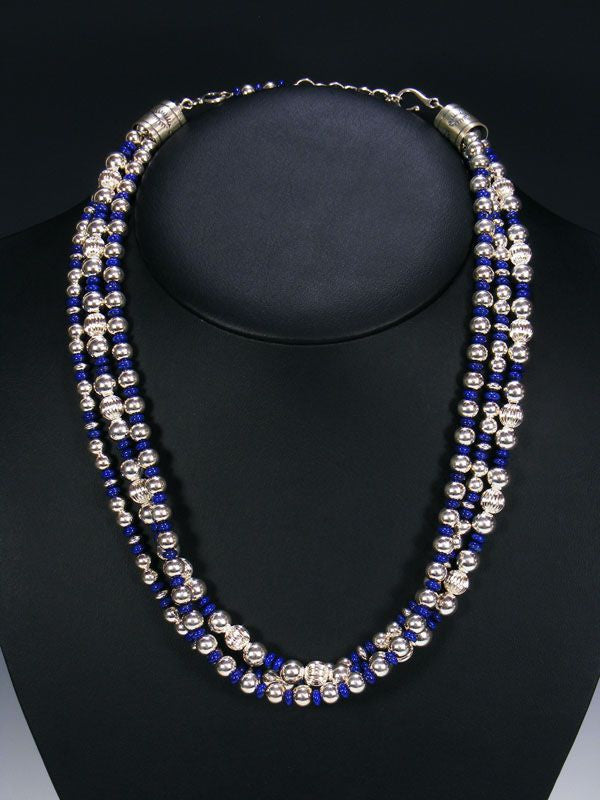 Native American Lapis Bead Necklace
