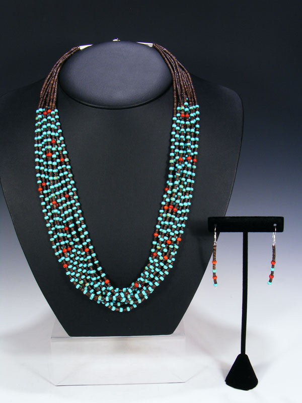 Native American Indian Santo Domingo Ten Strand Necklace by Josephine Coriz - PuebloDirect.com - 1