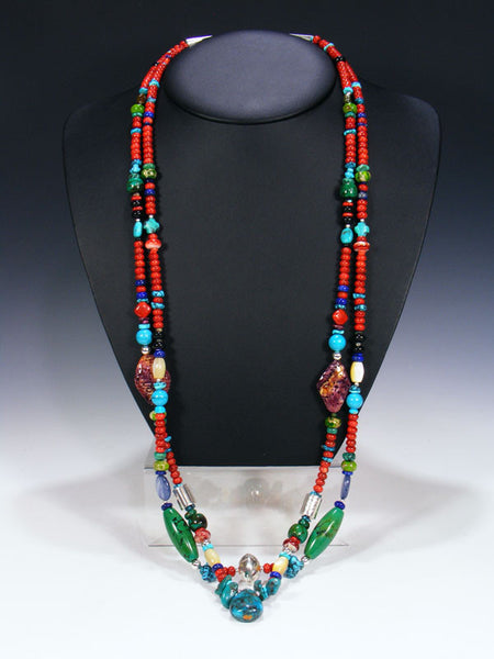 Native American Indian Santo Domingo Double Strand Necklace by Daniel Coriz - PuebloDirect.com - 1