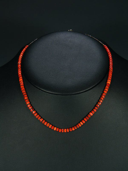 Native American Coral and Shell Heishi Necklace