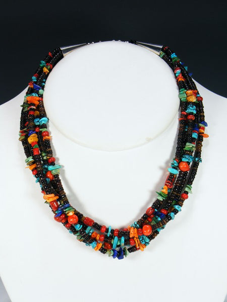 Five Strand Santo Domingo Turquoise and Penn Shell Necklace