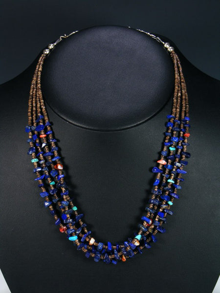Native American Lapis and Spiny Oyster Four Strand Necklace