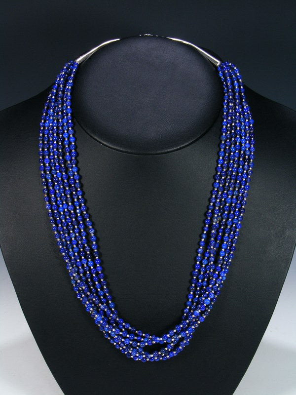 Native American Seven Strand Long Lapis Necklace