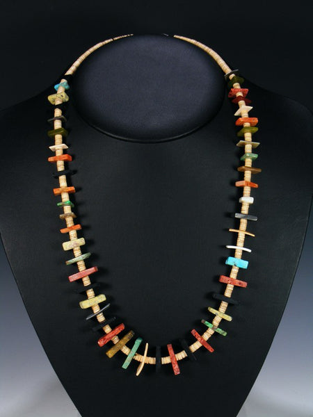 Native American Indian Santo Domingo Long Shell Necklace