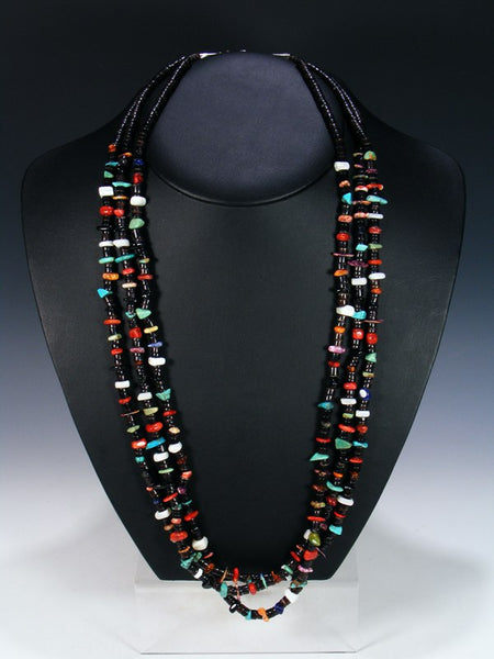Native American Turquoise Coral Penn Shell Triple Strand Necklace