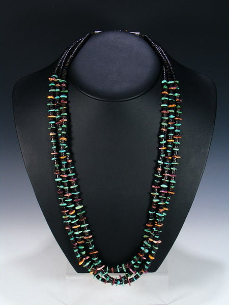 Native American Turquoise Spiny Oyster Penn Shell Triple Strand Necklace