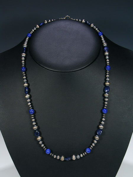 Native American Lapis Silver Bead Necklace