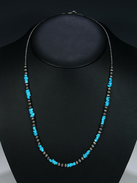Native American Turquoise Silver Bead Necklace