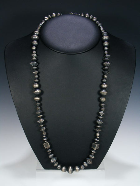 Native American Large Silver Bead Necklace