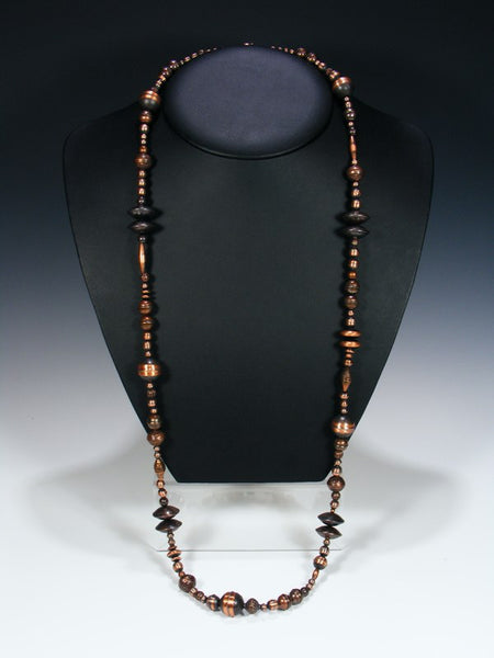 Long Native American Single Strand Copper Bead Necklace