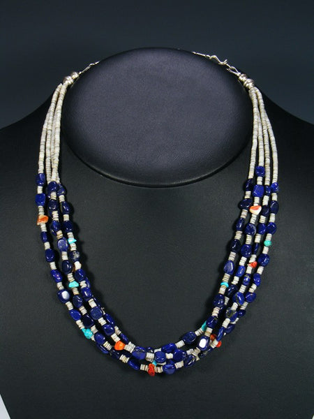 Native American Lapis Heishi Four Strand Necklace