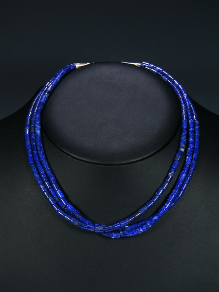 Native American Lapis Triple Strand Choker Necklace
