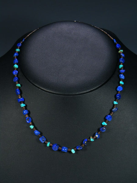 Native American Lapis and Turquoise Single Strand Necklace