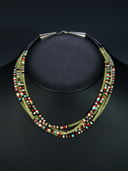 Native American Indian Bead Santo Domingo Serpentine Necklace