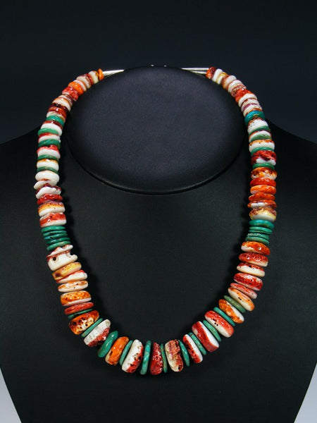 Native American Indian Jewelry Orange Spiny Oyster and Turquoise Necklace