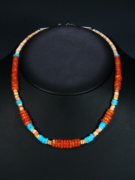 Single Strand Navajo Jewelry Apple Coral and Spiny Oyster Necklace