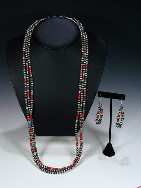 Native American Sterling Silver Coral and Turquoise Three Strand Bead Necklace Set