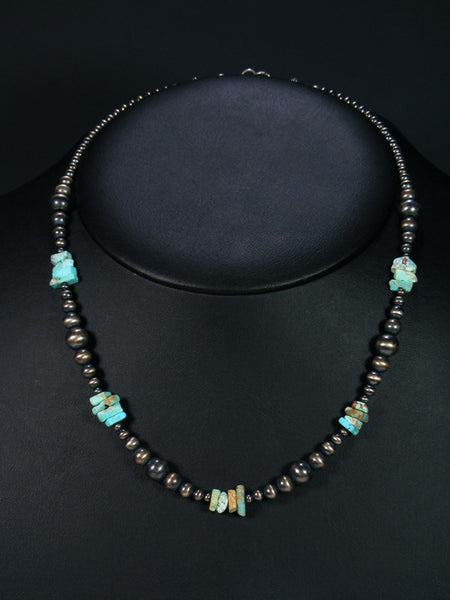 Native American Silver Bead Turquoise Necklace