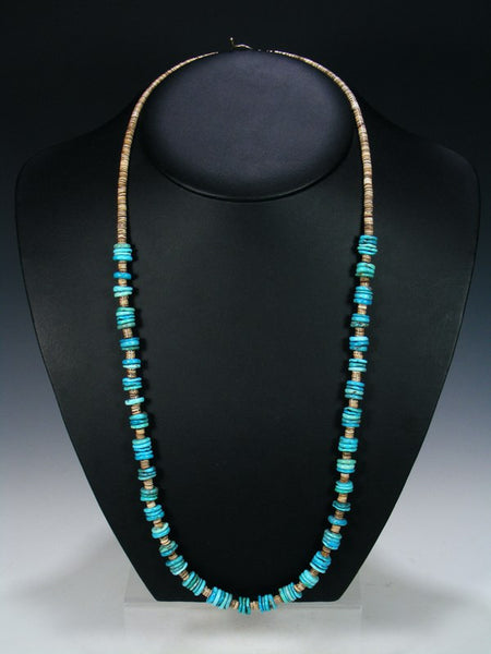 Native American Indian Jewelry Long Single Strand Turquoise Necklace