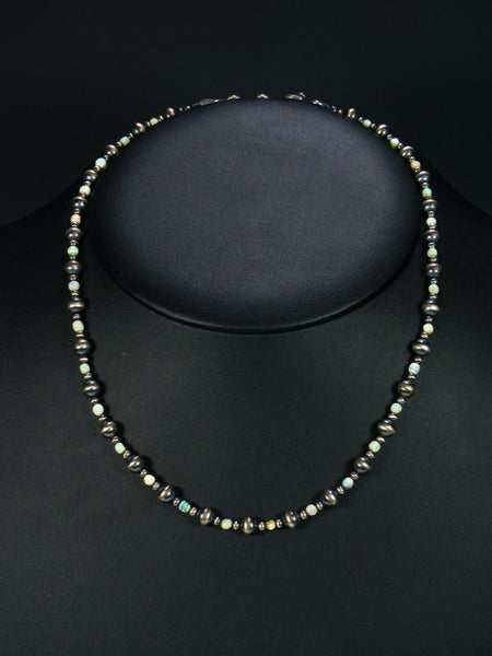 Native American Monarch Opal and Silver Bead Necklace