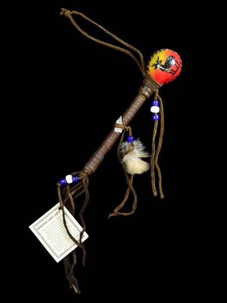 Native American Indian Miniature Painted Dance Stick Rattle