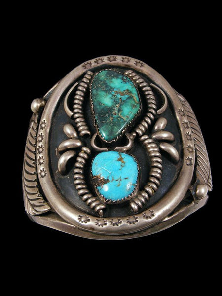 Old Pawn Indian Turquoise Bracelet by J Long - PuebloDirect.com - 1