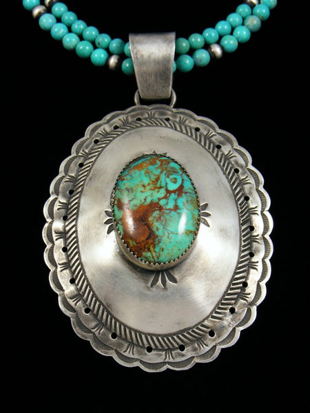 Estate Sterling Silver Turquoise Concho Necklace