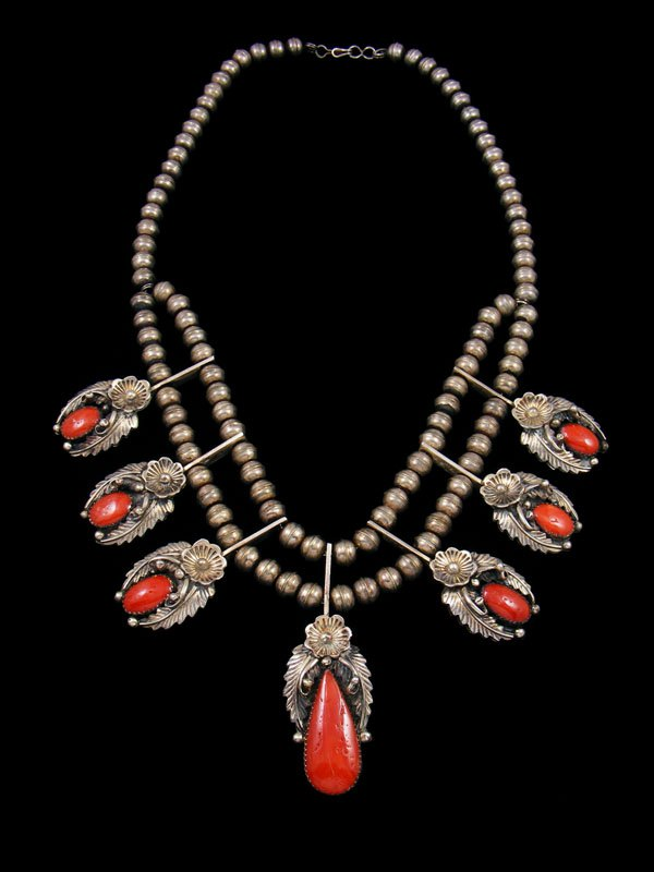 Old Pawn Native American Jewelry Sterling Silver Coral Necklace