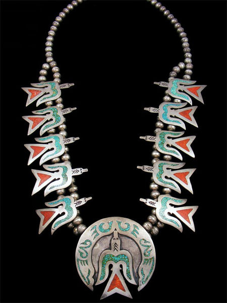 Old Pawn Jewelry Chip Inlay Turquoise and Coral Squash Blossom Necklace
