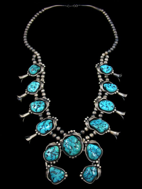 0033de82b Vintage Native American Sterling Silver Turquoise Squash Blossom Necklace