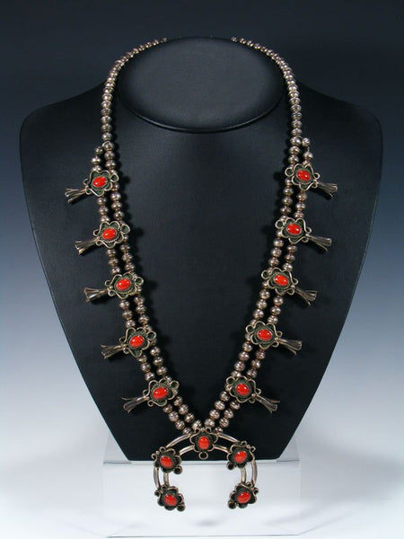 Old Pawn Native American Sterling Silver Coral Squash Blossom Necklace